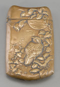 Asian:Japanese, A Japanese Brass Match Safe with Sparrow Motif, late 19th-early20th century. 2-5/8 inches high x 1-1/2 inches wide (6.7 x 3...