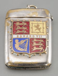 Decorative Arts, British:Other , A Silver-Plated and Enameled Edward VII Match Safe, early 20thcentury. 2 inches high x 1-1/2 inches wide (5.1 x 3.8 cm). ...