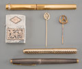 Decorative Arts, Continental:Other , A Group of Three Pens, Silver Lighter, and Two Tie Pins, late 19thcentury and later. Including 18K and 14K gold examples...(Total: 6 Items)