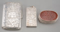 Silver Holloware, Continental, Three Silver Gentleman's Items: Snuff Box, Match Safe, CigaretteCase. Marks: (various). 3 inches high x 2 inches wide (7.6 ...(Total: 3 Items)