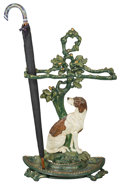 Decorative Arts, Continental:Other , A Painted Cast Iron Figural Umbrella Stand with Russian Cloisonneand Silver-Mounted Umbrella, early 20th century and later...(Total: 2 Items)