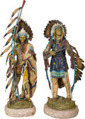 Fine Art - Sculpture, American, After Carl Kauba (Austrian, 1865-1922). War and Peace.Bronze with polychrome, each. 31 inches (78.7 cm) high on a 2inc... (Total: 2 Items)
