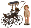 Other, A Large Child's Shirley Temple Doll with Toy Baby Carriage, first half 20th century. 29 h x 31 w x 12 d inches (73.7 x 78.7 ... (Total: 3 Items)