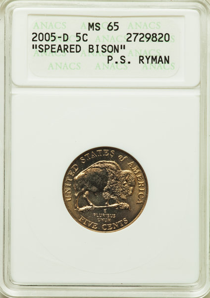 2005-P 5C Detached Leg MS65 ANACS  This lot will also