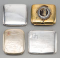 Silver Holloware, Continental:Holloware, Four Various Silver, Brass, and Alpaca Silver Cigarette Cases,early 20th century. Marks: (various). 3-1/4 inches high x 4-1...(Total: 4 Items)