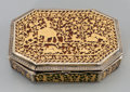 Silver Smalls:Snuff Boxes, An Indian Partial Gilt Silver Snuff Box, mid-19th century. 1 h x3-3/4 w x 2-5/8 d inches (2.5 x 9.5 x 6.7 cm). ...