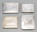 Silver Smalls:Cigarette Cases, Four Silver and Silver-Plated Cigarette Cases with AutomobileMotifs. Marks: (various). 3-3/4 inches high x 3-3/8 inches wid...(Total: 4 Items)