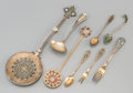 Silver Flatware, Continental:Flatware, Various Silver, Gilt Metal and Enamel Flatwares, late 19th-20thcenturies. Marks: (various). 9-1/4 inches long (23.5 cm) (lo...(Total: 8 Items)