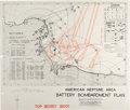 """Military & Patriotic:WWII, D-Day: Top Secret Naval Bombardment Map """"AMERICAN NEPTUNE AREA BATTERY BOMBARDMENT PLAN"""", Circa Late May, 1944...."""