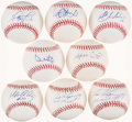 Autographs:Baseballs, Baseball Greats Single Signed Baseball Collection of 8 - IncludesIchiro, Ortiz, I. Rodriguez (2), etc. ...