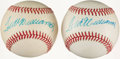 Autographs:Baseballs, Ted Williams Single Signed Baseball Pair (2)....