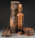 Carvings, Four Various African Wood Carvings, 20th century. 35 inches high (88.9 cm) (tallest). ... (Total: 4 Items)