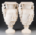 Decorative Arts, French:Other , A Pair of French Beaux Arts Carved Alabaster Urns, late 19thcentury. 22 inches high (55.9 cm). PROVENANCE: Acquired at Au...(Total: 2 Items)