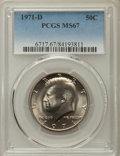 Kennedy Half Dollars, 1971-D 50C MS67 PCGS. PCGS Population: (215/3). NGC Census:(105/4). Mintage 302,097,408. ...