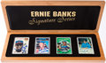 Baseball Cards:Sets, Ernie Banks Signature Series Topps Porcelain Signed Card Set (4)With Wooden Box. ...