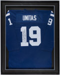 Football Collectibles:Uniforms, Johnny Unitas Signed Baltimore Colts Jersey Display....