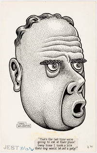Basil Wolverton Jest Illustration Original Art (Humorama, c. 1950s)