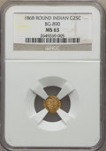 California Fractional Gold , 1868 25C Indian Round 25 Cents, BG-890, High R.5, MS63 NGC. NGCCensus: (1/2). PCGS Population: (6/17). ...