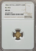 California Fractional Gold , 1866 50C Liberty Octagonal 50 Cents, BG-903, High R.5, MS64 NGC.NGC Census: (2/5). PCGS Population: (8/5). ...