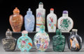 Asian:Chinese, Ten Chinese Porcelain, Hardstone, and Mixed Media Snuff Bottles,late Qing Dynasty-Republic Period. 3-1/2 inches high (8.9 c...(Total: 10 Items)