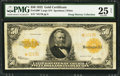 Large Size:Gold Certificates, Fr. 1200* $50 1922 Gold Certificate PMG Very Fine 25 Net.. ...