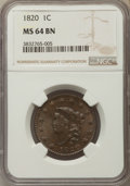 Large Cents, 1820 1C Large Date MS64 Brown NGC. NGC Census: (161/175). PCGS Population: (224/166). CDN: $1,125 Whsle. Bid for problem-fr...
