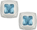 Estate Jewelry:Earrings, Blue Topaz, White Gold Earrings, Bvlgari . ...