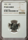 Proof Roosevelt Dimes, 1951 10C PR68 Cameo NGC. NGC Census: (92/9). PCGS Population:(30/0). ...