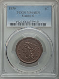 Large Cents: , 1856 1C Slanted 5 MS64 Brown PCGS. PCGS Population: (74/28). CDN: $400 Whsle. Bid for problem-free NGC/P...