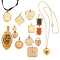 Estate Jewelry:Pendants and Lockets, Diamond, Multi-Stone, Gold, Yellow Metal Lockets . ... (Total: 12Items)
