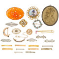 Estate Jewelry:Brooches - Pins, Multi-Stone, Lava Cameo, Cultured Pearl, Enamel, Gold, Silver Brooches. ... (Total: 25 Items)