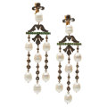 Estate Jewelry:Earrings, Colored Diamond, Garnet, Cultured Pearl, Gold Earrings. ...