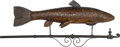 General Americana: , A Wrought Iron and Carved Wood Trout Fish Trade Sign. 21 h x 53 w x7-1/2 d inches (53.3 x 134.6 x 19.1 cm). ... (Total: 2 Items)