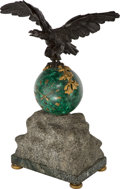 Timepieces:Clocks, A Malachite, Bronze, Marble, and Limestone Eagle Mantel Clock. Marks to movement: S MARTI & CIE, MEDAILLE D ARGENT, 1889...