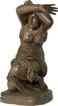 Sculpture, After Jean Jules Cambos (French). Cowering Figure. Bronze with brown patina. 23 inches (58.4 cm) high. Inscribed on base...