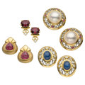 Estate Jewelry:Earrings, Diamond, Multi-Stone, Mabe Pearl, Platinum, Gold Earrings. ... (Total: 4 Items)