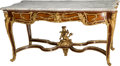 Furniture : French, A Louis XV-Style Mahogany and Gilt Bronze Salon Table with CarraraMarble Top. 32-5/8 h x 65 w x 36-1/2 d inches (82.9 x 165...(Total: 2 Items)