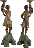 Decorative Arts, Continental:Other , A Large Pair of Venetian Polychromed Wood Blackamoor Figures, late19th century. 59 inches high (149.9 cm). ... (Total: 2 Items)