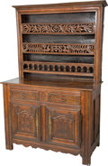 Furniture : French, A French Provincial Carved Walnut Buffet Cabinet, late 18th century. 39-1/2 h x 52-1/2 w x 24-1/2 d inches (100.3 x 133.4 x ...