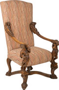 Furniture : French, A Louis XIV-Style Carved Walnut Chair with Figural Armrests in theVenetian Taste. 51-1/4 h x 30-1/4 w x 28 d inches (130.2 ...