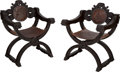 Furniture : Continental, A Pair of Renaissance-Style Carved Walnut Savonarola Chairs. 32 h x25-1/4 w x 22-1/2 d inches (81.3 x 64.1 x 57.2 cm). ... (Total: 2Items)
