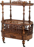 Furniture , A Large Victorian Burlwood Canterbury. 37-1/4 h x 29-3/8 w x 12-1/4 d inches (94.6 x 74.6 x 31.1 cm). ...