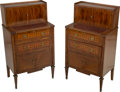 Furniture , A Pair of Louis XVI-Style Satinwood and Parquetry Side Cabinets. 39-1/4 h x 21-3/4 w x 14-1/4 d inches (99.7 x 55.2 x 36.2 c... (Total: 2 Items)