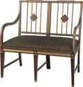 Furniture : Continental, A Russian Mahogany Two-Seat Settee, early 20th century. 38-1/4 h x38 w x 21-1/2 d inches (97.2 x 96.5 x 54.6 cm). ...