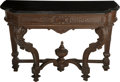 Furniture , A Renaissance Revival Carved Oak Console with Black Slate Top, late 19th century. 38 h x 54-3/4 w x 21-5/8 d inches (96.5 x ... (Total: 2 Items)