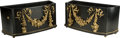 Decorative Arts, French:Other , A Pair of Napoleon III Ebonized Wood and Gilt Bronze Jardinières,late 19th century . 19 h x 37-1/4 w x 14-3/8 d inches (48....(Total: 2 Items)