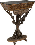Furniture : Continental, A Continental Carved Wood Grotto Jardiniere, 19th century. 32-1/2 hx 25-3/4 w x 12 d inches (82.6 x 65.4 x 30.5 cm). ...