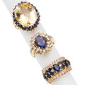 Estate Jewelry:Rings, Diamond, Multi-Stone, Gold Rings . ... (Total: 3 Items)