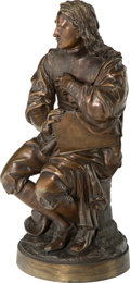 Sculpture, Jean Jules Salmson (French, 1823-1902). The Seated Scholar. Bronze with brown patina. 26 inches (66.0 cm) high. Inscribe...