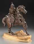 Other, A French Patinated and Gilt Bronze Group after Alfred Pierre Richard: Hun Warrior on Horseback. Marks: A RICHARD...
